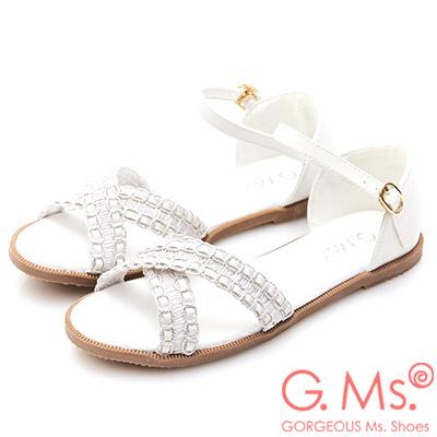 G.Ms. 蕾絲皮繩交叉平底涼鞋-白色