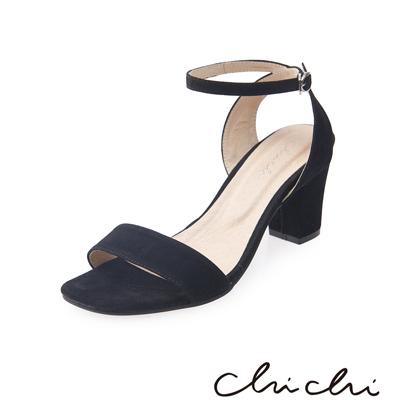 Chichi 簡約繫帶一字高跟涼鞋*黑色