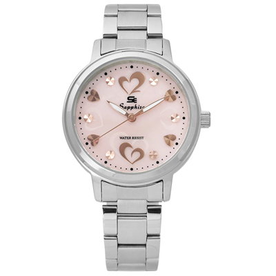 Sapphire  雙心浪漫珍珠母貝藍寶石水晶不鏽鋼手錶-淺粉色 /31mm