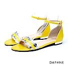 達芙妮DAPHNE 涼鞋-波浪多層寬帶繞踝金屬低跟涼鞋-黃