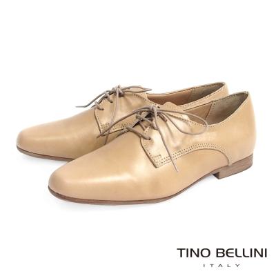 Tino Bellini 義大利進口中性自我態度綁帶皮鞋_杏