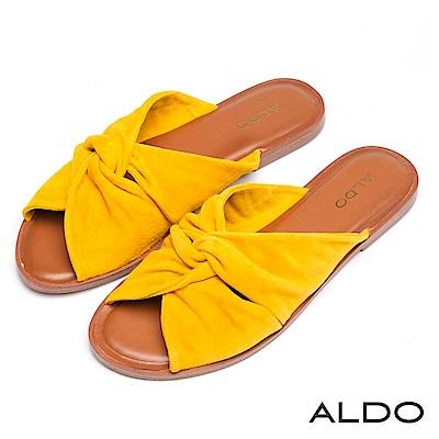 ALDO 原色真皮蝴蝶雙扭結露趾休閒涼拖鞋~芥末黃色