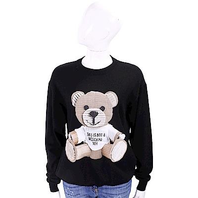 MOSCHINO 100%羊毛 瓦楞泰迪熊補丁貼黑色針織衫