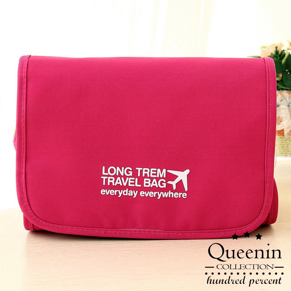 DF Queenin - 韓版可拆式多功能盥洗旅行收納包-玫紅