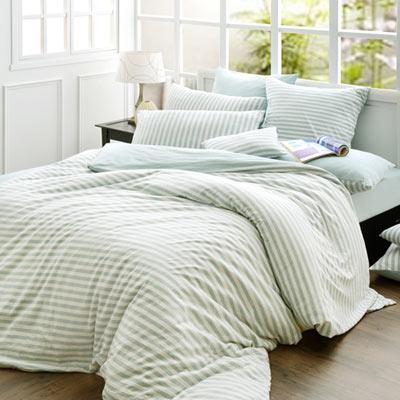 義大利La Belle 斯卡線曲 單人三件式色坊針織被套床包組-薄荷綠