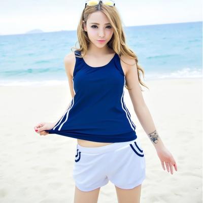 Biki比基尼妮,雙肩學生游泳課合適三件式泳衣比基尼(M-XL)