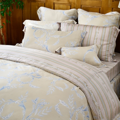 義大利La Belle 加大天絲防蹣抗菌吸濕排汗兩用被床包組-金柏恩寵