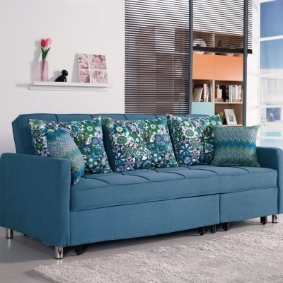 品家居 藍漾多功能布面沙發床