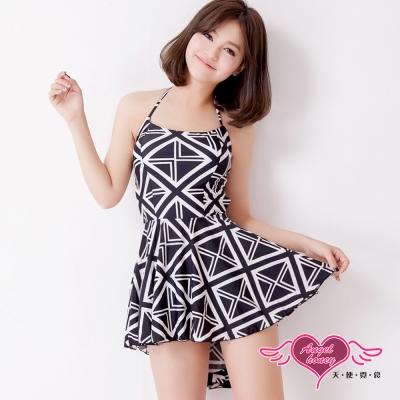 天使霓裳 復古豔夏 二件式泳衣(黑白M~XL)