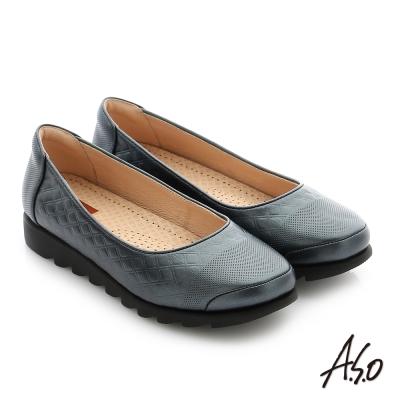 A.S.O 輕量休閒 真皮閃亮牛皮奈米休閒鞋 深藍色