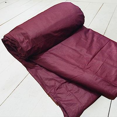 米夢家居-台灣製造-100%精梳純棉雙面素色薄被套-大地紅-雙人