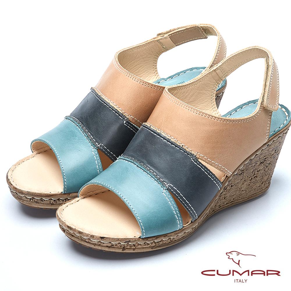 CUMAR舒適氣墊撞色時尚真皮氣墊涼鞋-淺藍色