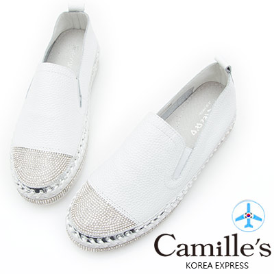 Camille's 韓國空運-正韓製-鑽石厚底懶人鞋-素面款-白色