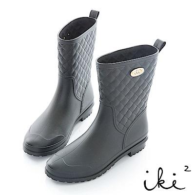 iki2 甜美小香風防滑中筒雨靴-黑