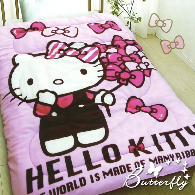 HELLO KITTY 凱蒂貓 搖粒絨暖暖被 蝴蝶飄飄樂