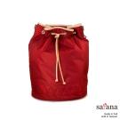 satana -929 Ladies 復刻風尚 拉繩束口3Way水桶包-石榴紅
