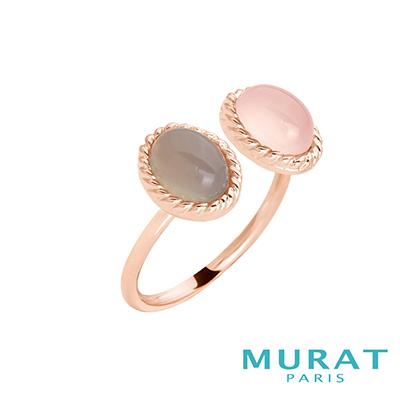 MURAT Paris米哈巴黎 天然粉色玉石戒指(玫瑰金)