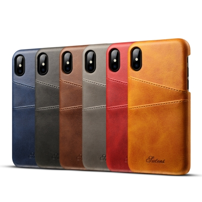 APPLE iPhone X 小牛紋夾層保護手機皮套/手機殼