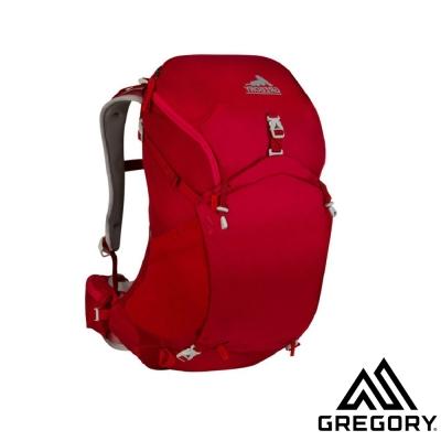 【美國 GREGORY】女 J28 網架式透氣健行登山背包_紅