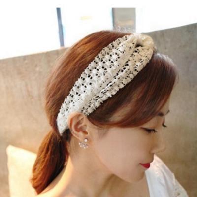 梨花HaNA-韓國浪漫國度蕾絲燒花綁結寬髮帶