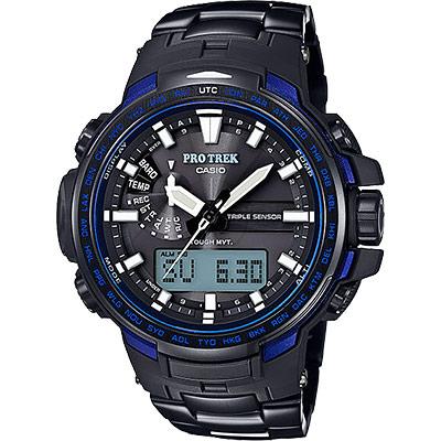 CASIO卡西歐 PRO TREK 專業登山太陽能電波手錶-藍/51.6mm