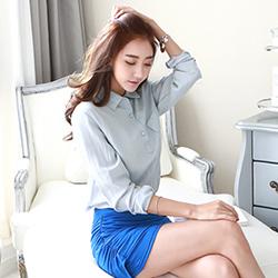 正韓 微透光包釦開襟皺感上衣 (共三色)-N.C21