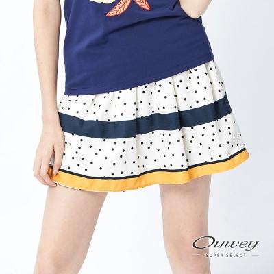 OUWEY歐薇 跳色條紋圓點印花褲裙(黃)