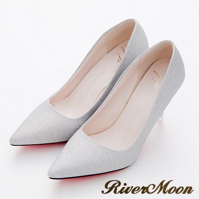 River-Moon高跟鞋-奢華亮蔥美型紅底尖頭高跟鞋-銀系