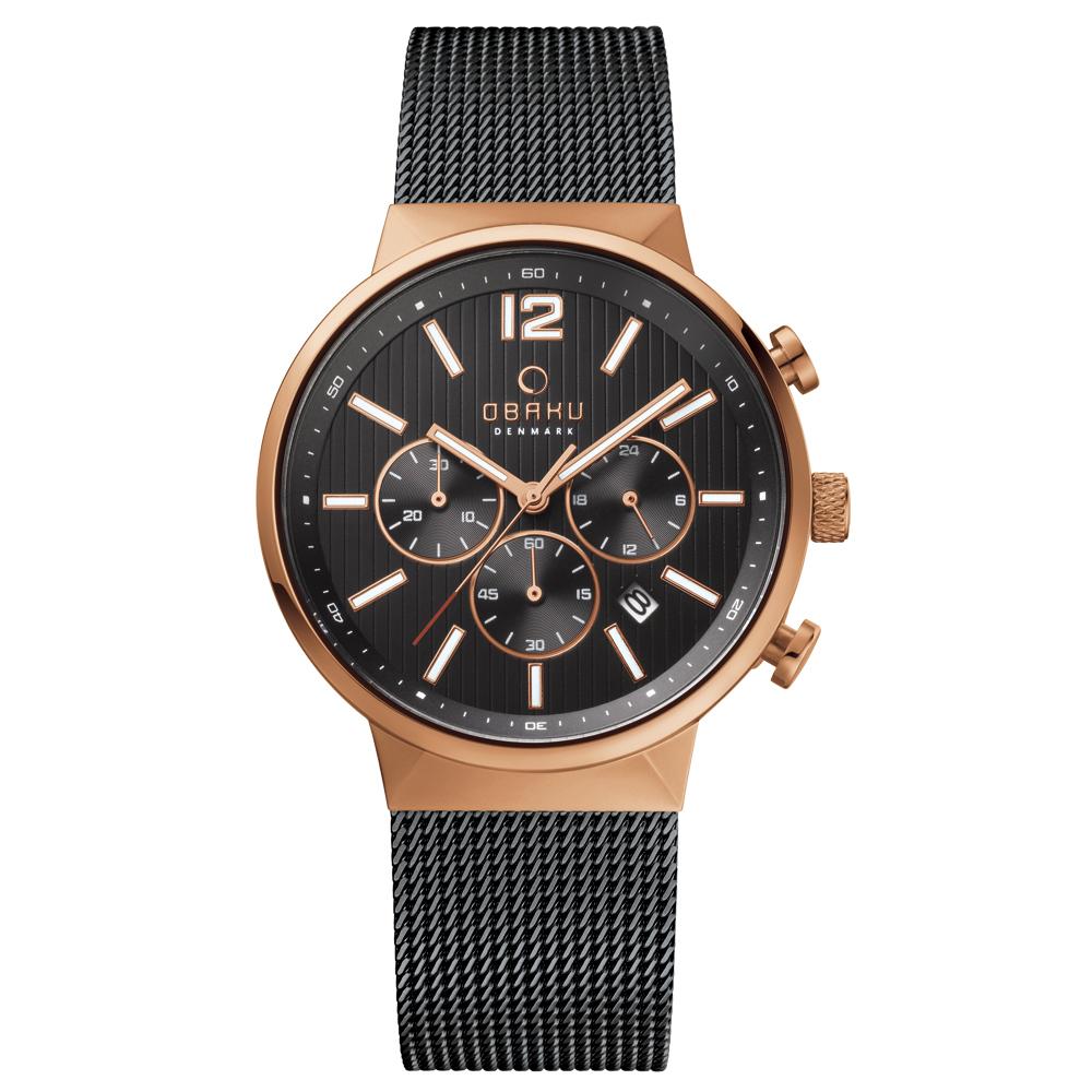 OBAKU   分秒必爭三眼時尚腕錶-玫瑰金框黑/42mm