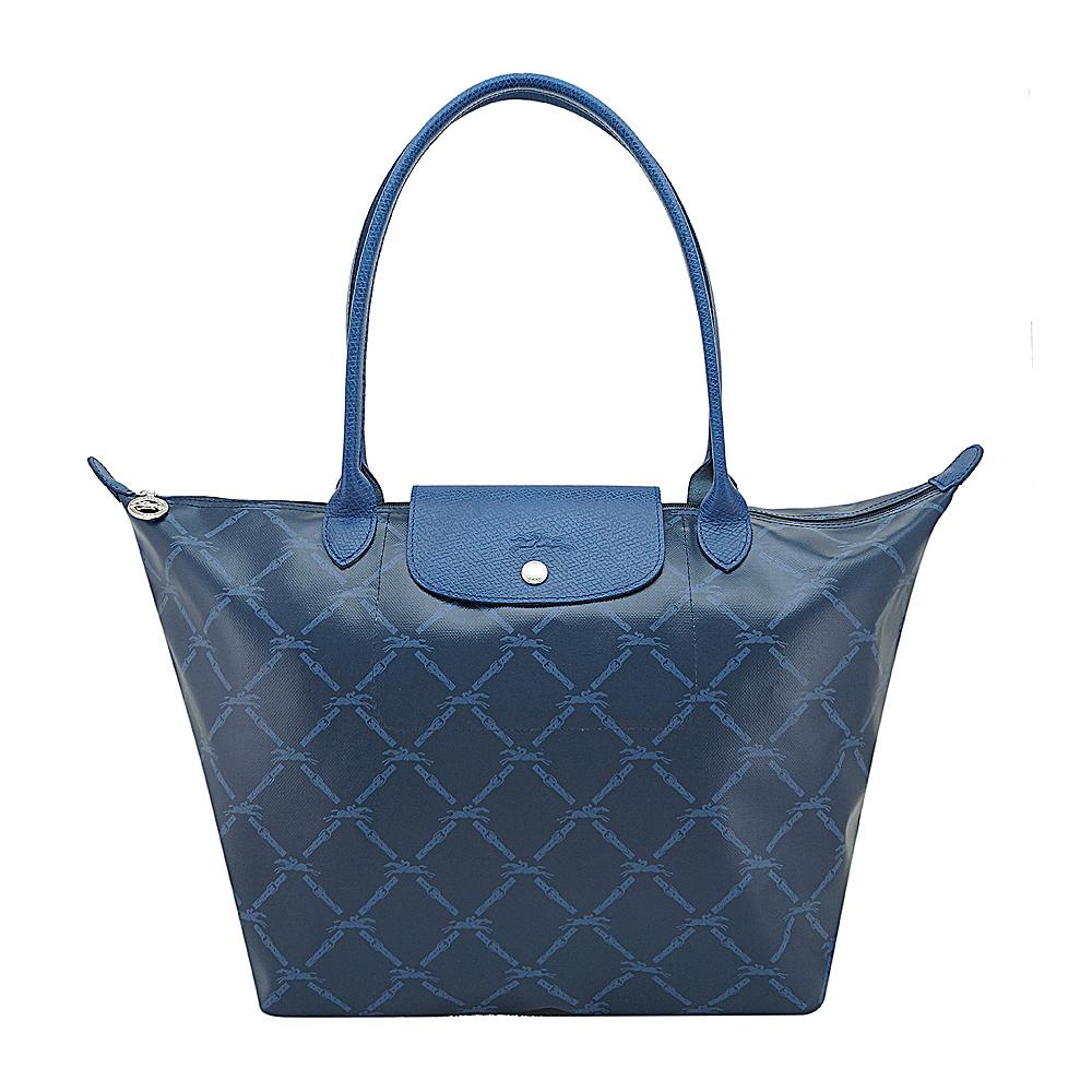Longchamp 經典LM系列60週年復刻版格紋肩背包大.海軍藍)
