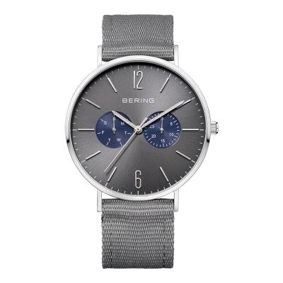 BERING- 雙眼日期顯示系列 銀x北歐藍真皮/灰尼龍錶帶套組40mm