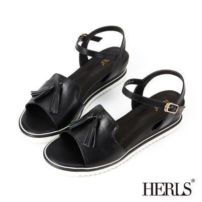 HERLS 微甜系女孩 真皮俏皮流蘇楔型涼鞋-黑色