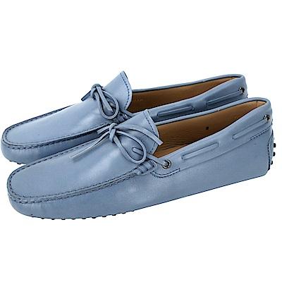 TOD'S Gommino 滑面牛皮綁帶休閒豆豆鞋(男鞋/薄霧藍)