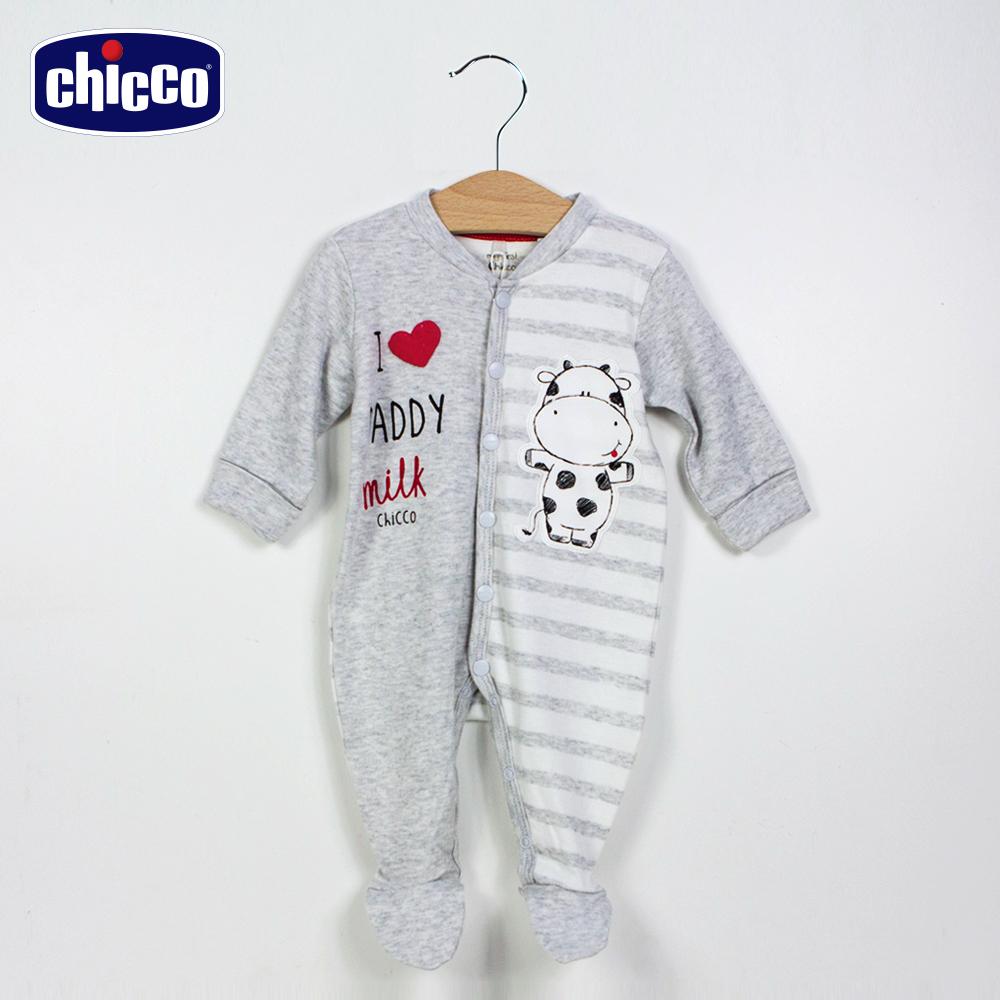 chicco小乳牛前開條紋兔裝-灰(3-18個月)