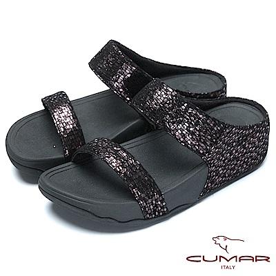 CUMAR樂活時尚金屬色羊皮超舒適厚底涼鞋-古銅色