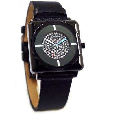 MORRIS K愛不單行晶鑽炫黑時尚潮流腕錶-黑/34mm