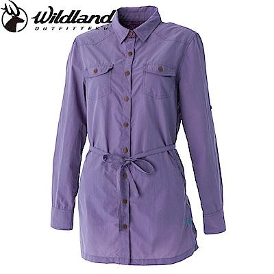 【Wildland 荒野】女抗UV時尚長版襯衫-芋紫色