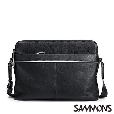 SAMMONS-真皮庫克雙隔層斜背包-紳士黑