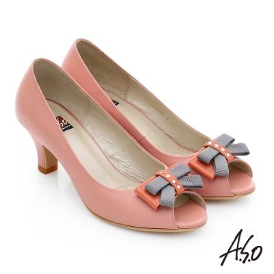 A.S.O 軟芯系列 全真皮立體水鑽蝴蝶結魚口鞋 橘紅色