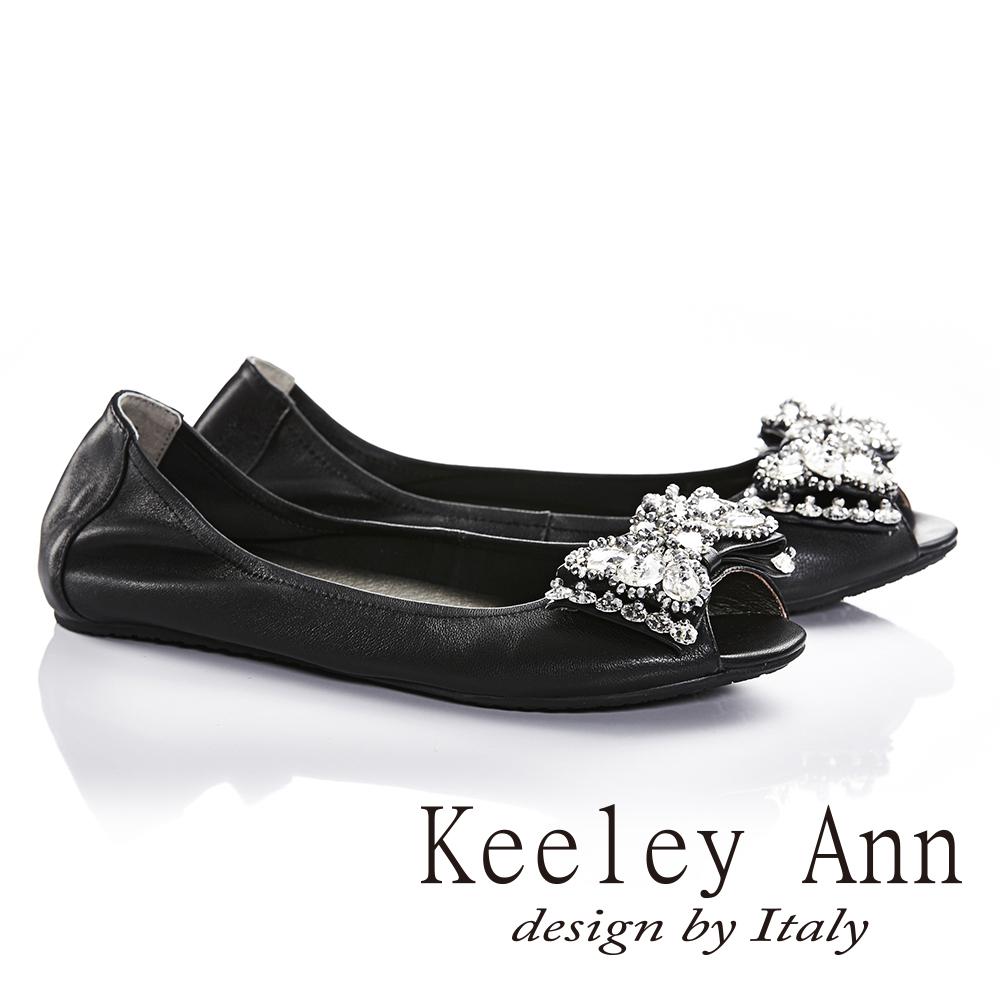 Keeley Ann寶石立體蝴蝶結鑽飾全真皮平底魚口鞋(黑色)