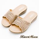 River&Moon大尺碼-超Q軟波浪寬版一字亮鑽厚底涼拖鞋-米杏