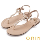 ORIN 夏日時尚風 典雅珍珠T字牛皮夾腳涼鞋-粉膚