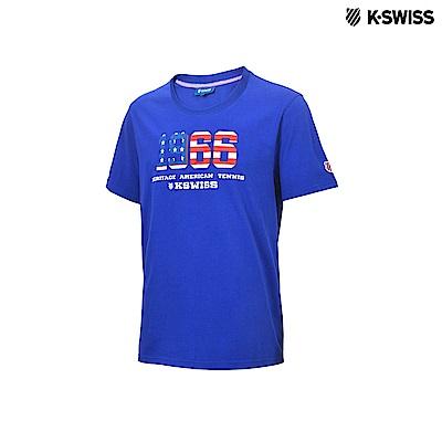 K-Swiss 1966 Logo Tee印花短袖T恤-男-藍