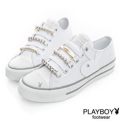 PLAYBOY-璀璨華麗-可拆華麗鞋帶釦帆布鞋-白