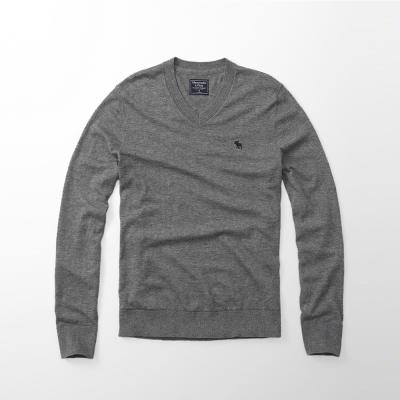 A&F 經典麋鹿刺繡長袖毛衣-灰色 AF Abercrombie