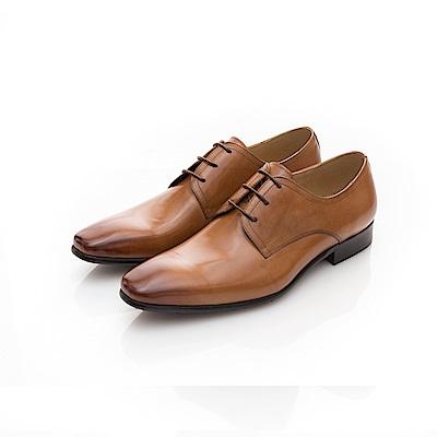 ALLEGREZZA-真皮男鞋-重返時尚-素面綁帶尖方頭皮鞋  焦糖色