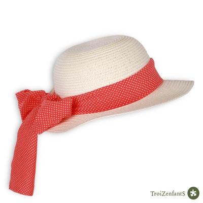 TroiZenfantS 法國精品 橘紅點點緞帶遮陽帽