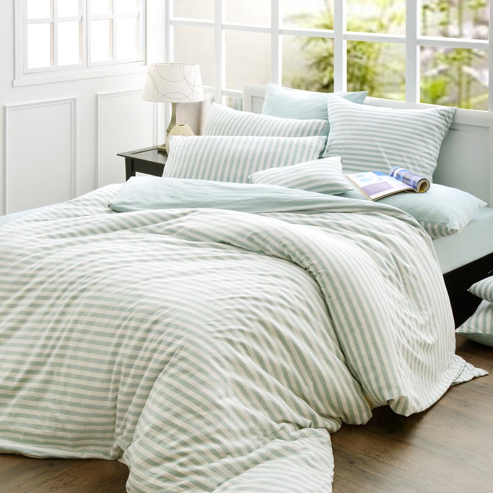 義大利La Belle 斯卡線曲 雙人四件式色坊針織被套床包組-薄荷綠