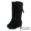 GDC個性-麂皮側流蘇楔型底真皮長靴-黑色