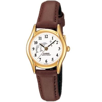 CASIO 經典復古氣質童真皮帶指針腕錶-海豚圖樣(LTP-1094Q-7B9)/25mm